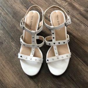 Via Spiga White Grommet Wedge Sandals 10